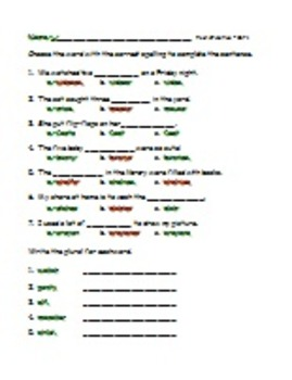 Singular and Plural Words - sorting sheets, crossword puzzles and word cards