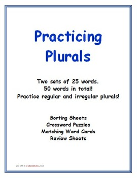 Singular and Plural Words - sorting sheets, crossword puzz