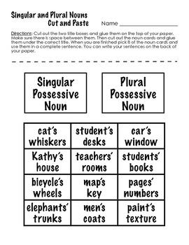 Singular and Possessive Noun Cut and Paste