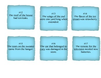 Singular and Possessive Noun Task Cards