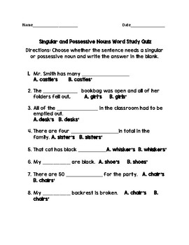 Singular and Possessive Nouns Test