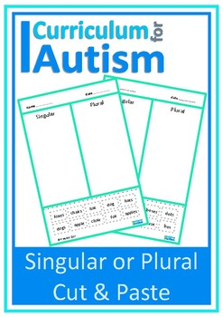 Singular Plural Cut Paste Autism Special Education ESL