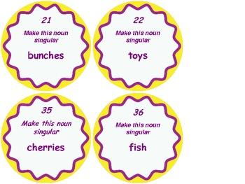 Singular or Plural Noun Scoot Task Cards
