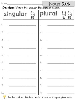 Singular or Plural Noun Sort
