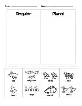 Singular or Plural Noun Sort with Pictures