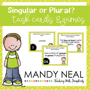 Singular or Plural Nouns Grammar Task Cards, Games, and Centers