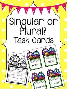 Singular or Plural? Task Cards. English Language Arts Center.