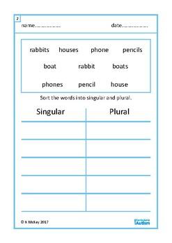 Singular or Plural  Vocabulary Sort Worksheets, Autism , Special Education, ESL