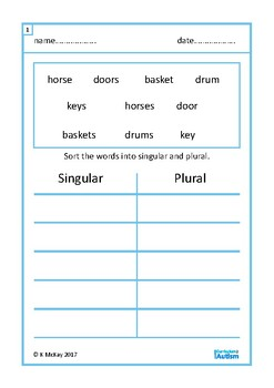 Singular Plural Vocabulary Sort Autism Special Education ESL