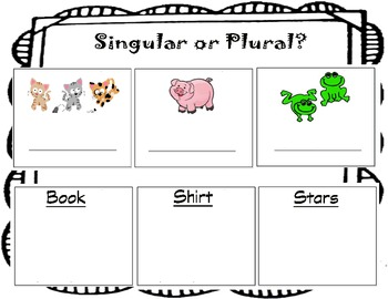 Singular or Plural Worksheet - First Grade - Introductory Lesson