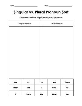 Singular/plural Pronoun Sort
