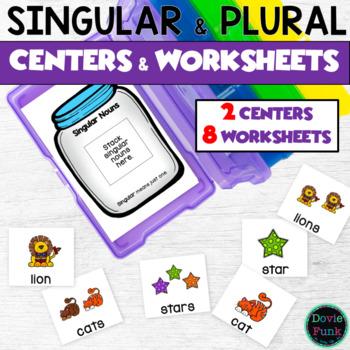 Singular to Plural - Two Literacy Centers + 3 BONUS printables!