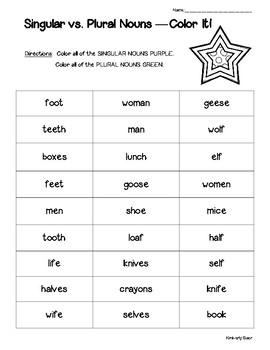 Singular vs. Plural Noun -- Color It! Sorting Worksheet