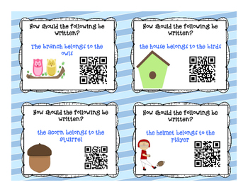 Singular vs. Plural Possessive QR Code Self Checking Task Cards