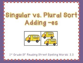 Singular vs. Plural Sort (1st Grade Reading Street Spelling 3.3)