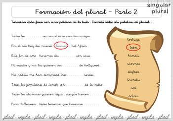 Singular y Plural - Spanish Lesson - Grades 4 to 10 - Printable