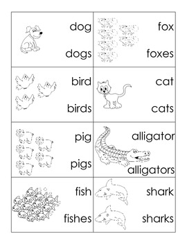 singular plural animal cards common core by miral patel tpt. Black Bedroom Furniture Sets. Home Design Ideas