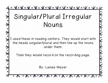 Singular/Plural Irregular Nouns Sort