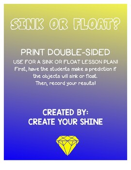 Sink Or Float Worksheet | Teachers Pay Teachers