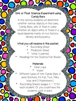 Sink Or Float Candy Bar Experiment