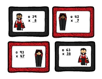 Sink Your Teeth Into Multiplication 1, 2, & 3 Digit Task Cards
