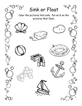 sink of float worksheet by beth reid teachers pay teachers. Black Bedroom Furniture Sets. Home Design Ideas