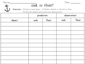 Sink or Float Science Experiment