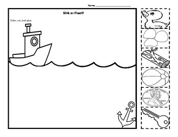 Sink or Float Cut and Paste Activity