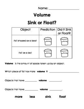 Sink or Float - Density and Volume Worksheet