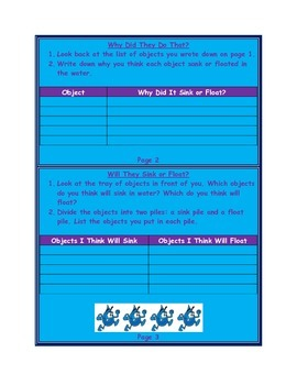 Sink or Float Lab Book & Answer Key
