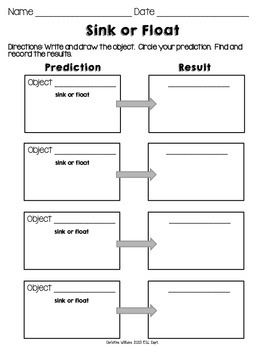 Sink or Float Prediction and Results Recording Sheets