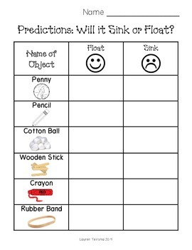 Sink Or Float Worksheet By Teitsma Treasures Teachers Pay Teachers