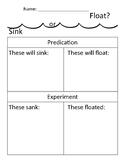 Sink or Float Worksheet
