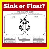 Sink or Float Worksheet | Sink or Float Activity | Float or Sink Worksheet