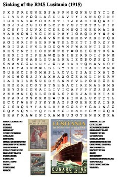 Sinking of the RMS Lusitania Word Search