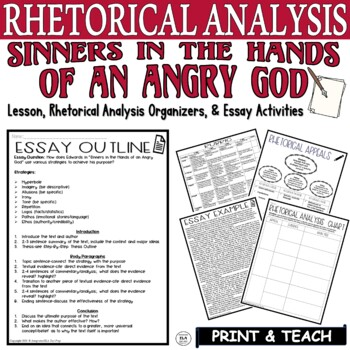 Sinners in the Hands of an Angry God by Edwards Rhetorical Analysis Writing Pack