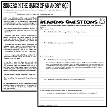 Sinners in the Hands of an Angry God by Jonathan Edwards: Quiz / Test Pack