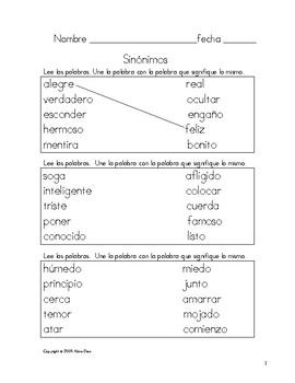 Sinónimos Cuaderno de Práctica