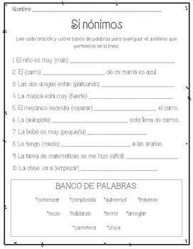 Sinónimos (Synonyms SPANISH)