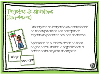 Sinónimos y antónimos - SPANISH Synonyms and Antonyms