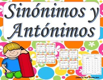 Sinonimos y antonimos Tarjetas - Synonyms & Antonyms Task Cards