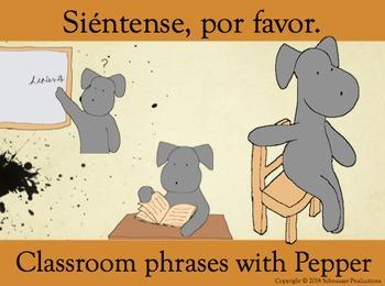 Siéntense, por favor, or Sit Down, Please, for Pepper's Classroom Phrases