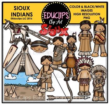 Sioux Indians Clip Art Bundle {Educlips Clipart}