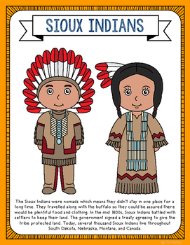 Sioux Indians Coloring Page Craft and Poster, Native American Tribes