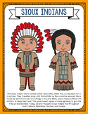 Sioux Indians Coloring Page Craft and Poster, Native Ameri