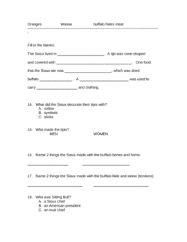 Sioux Study Guide and Test