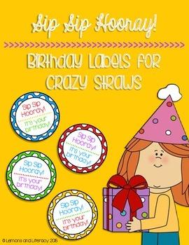 Sip Sip Hooray! Crazy Straw Birthday Labels