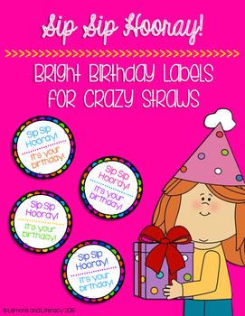 Sip Sip Hooray! Crazy Straw Birthday Labels in Black & Bright Colors