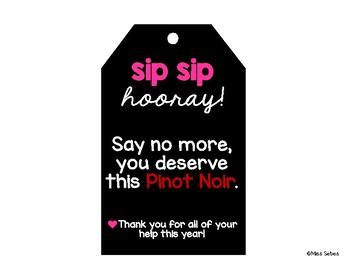 Sip Sip Hooray Wine Gift Tag