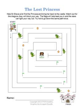 Sir Brave-a-lot Preschool Workbook Pack Printable, knights and dragons